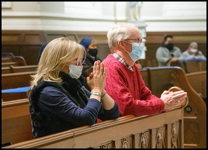 Cardinal Seán P. O'Malley celebrates the Holy Thursday Mass of the Lord's Supper at the Cathedral of the Holy Cross April 1, 2021. Pilot photo/ Jacqueline Tetrault